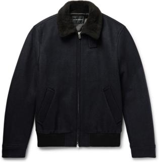 Shearling-trimmed Wool-blend Bomber Jacket - Navy