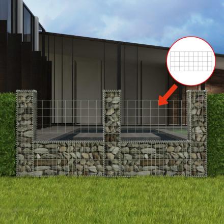 vidaXL gabionkurv U-facon stål 240 x 20 x 100 cm