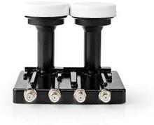 Nedis LNB | Quad Monoblock 4,3 ° | Utgångsanslutning: 4x F-kontakt | Brusfaktor omfång: 0.85 dB | Omvandlingsförstärkning: 52-67 dB | Vit