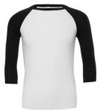 Unisex 3/4 Sleeve Baseball Tee White/Black