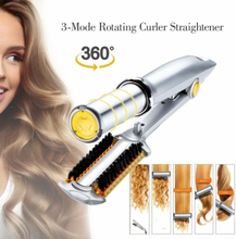 Pro 3 in 1 2-Way Rotating Curling Iron Hair Brush Curler Straightener New
