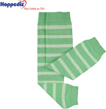 Hoppediz - Babystulpen aus Bio-Baumwolle - (0-4 Jahre) - Grün & Hellgrün (gestreift)