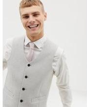 ASOS DESIGN – Bröllop – Isgrå väst i skinny fit i ullmixtextur