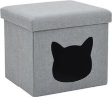 vidaXL foldbar katteseng imiteret linned 37 x 33 x 33 cm grå