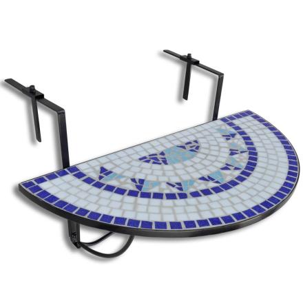 vidaXL Mosaikk Balkongbord Semi-sirkulært Blå & Hvit