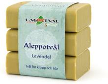 Aleppotvål med doft - 4% lagerbärsolja, 3 x 125 g, Lavendel
