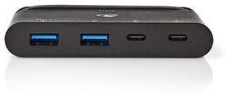 Nedis USB-adapter | USB 3.1 | USB Typ-C- | 2x USB Type-A / 2x USB Type-C- | Nickelplaterad | Svart | Window Box med Euro Lock