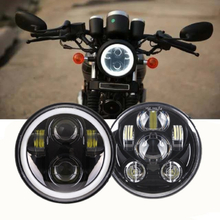 """5.75"""" Motorcycle Projector LED Headlight For Motorcycle Bobber Cafe Racer 45W 40W Headlights"""
