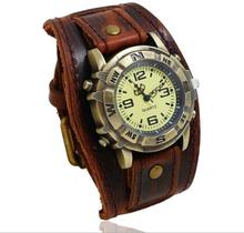 Vintage Retro Big Wide Genuine Leather Strap Watch Men Punk Quartz Cuff Watch Wristwatches Bracelet Bangle relogio masculino