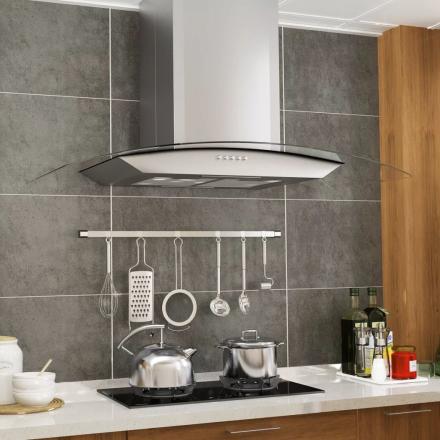 vidaXL vægmonteret emhætte 90 cm rustfrit stål 756 m³/t. LED