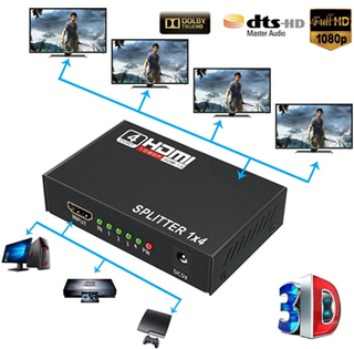 Full HD HDMI Splitter 1x4 - Audio & Video - Sort