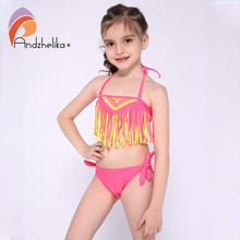 Andzhelika 2020 New Children's Swimsuit Tassel Bikini Girls Summer Swimsuit Kid Beach Swimwear Child Sport Bathing Suit Monokini