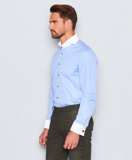 Narcissus Shirt Double Cuff Blue/White Fil A Fil