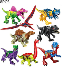 8pcs/set Jurassic Dinosaur Set Building Block Toy Children's Educational DIY T-Rex World Toy Compatible With For Lego