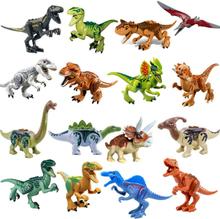 Jurassic Dinosaur World Building Blocks Series Velociraptor T-Rex Triceratops Assembles Figure Bricks Toys