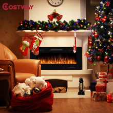 """42"""" Recessed Ultra Thin Wall Mounted Electric Fireplace 2 Heat Settings Realistic Flame Effects LED Touch Screen Fireplace"""
