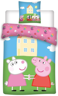 Gurli Gris Junior sengetøj 100x140 cm - sengesæt Gurli Gris og Frida Får - 2 i 1 design - 100% bomuld