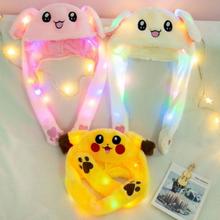 Cartoon Cuddly Moving Ear Rabbit Hat Dance Plush Toy Plush Cap Hat Soft Stuffed Animal Toy Toys LED lights