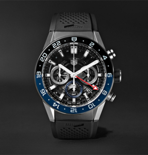 Carrera Gmt Automatic Chronograph 45mm Stainless Steel And Rubber Watch - Black