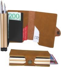 Plånbok med dubbla korthållare Safecard Konstläder Ljusbrun