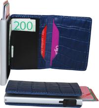 Plånbok med korthållare Safecard Kroko Blå 2