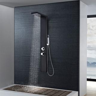 vidaXL Duschpanelsystem aluminium matt svart