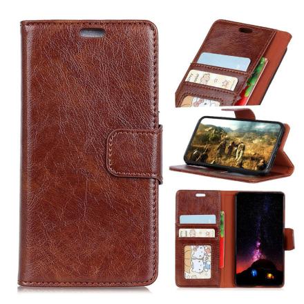 Huawei Honor 10 Lite beskyttelses deksel av behandlet kuskinn med slitt tekstur - brun