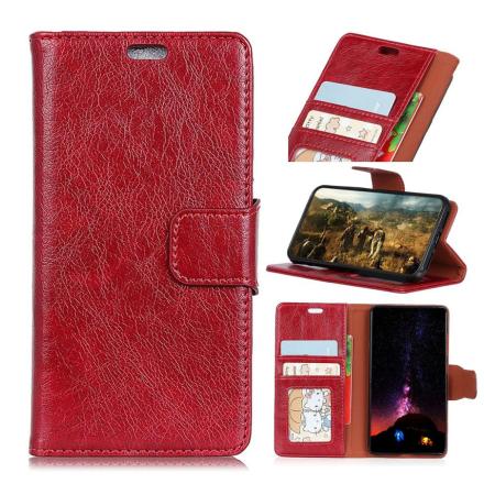 Huawei Honor 10 Lite beskyttelses deksel av behandlet kuskinn med slitt tekstur - rød