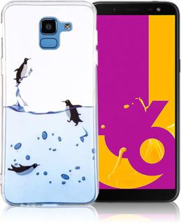 IMD Samsung Galaxy J6 beskyttelses deksel av silikon med printet bilde - svømmende pingvin