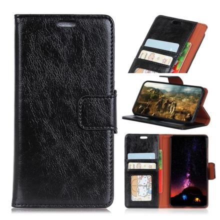 Huawei Honor 10 Lite beskyttelses deksel av behandlet kuskinn med slitt tekstur - svart
