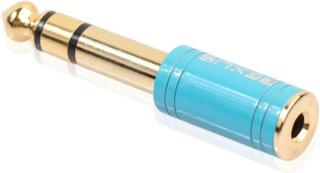 Universal 6.35mm 1/4 til 3.5mm 1/8 stereo lyd hodetelefon konverterer - blå