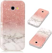 Samsung Galaxy A5 IMD beskyttelses deksel av TPU med marmor mønster - rosa og hvit