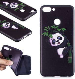 Huawei P Smart beskyttelses deksel av silikon med hevet printet bilde - panda mønster