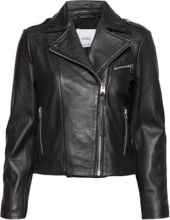 Leather Biker Jacket Læderjakke Skindjakke Sort MANGO