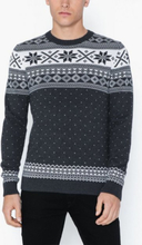 Selected Homme Slhnewflake Crew Neck W Ex Puserot Musta