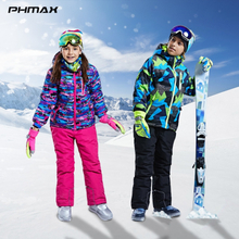 PHMAX Winter Kids Ski Jacket Waterproof Thicken Keep Warm Children's Ski Clothes Outdoor Skiing Snowboard Clothing Girls Boys