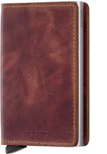 Secrid Slimwallet Vintage liten plånbok i skinn och metall, Brun