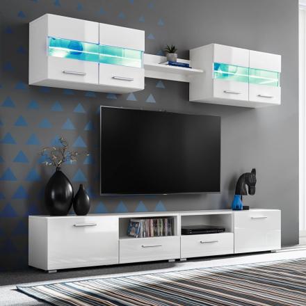 vidaXL TV-möbel 5 delar med LED-belysning högglans vit