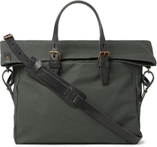 Remix Leather-trimmed Regentex Ripstop Messenger Bag - Gray green