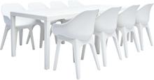vidaXL Matgrupp för trädgården 9 delar plast vit