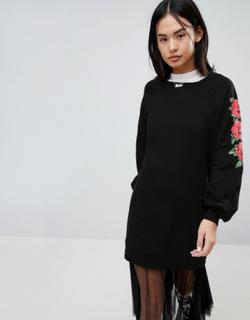 Noisy May Sweat Dress With Rose Sleeve Print - Black