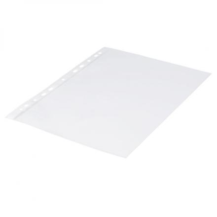 Plastlomme 0,11mm A4 glasklar 100stk/pak Q-line m/hvid hulkant - Engsig.dk