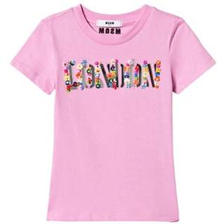 MSGM London Floral Applique T-shirt Rosa 4 years