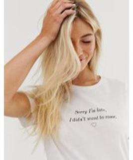 New Look slogan sorry I'm late slogan tee in white - White