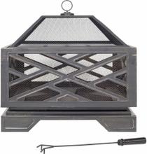 LA HACIENDA Brooklyn bålfad m. grill - bronzefinish stål, kvadratisk (66x66x66cm)