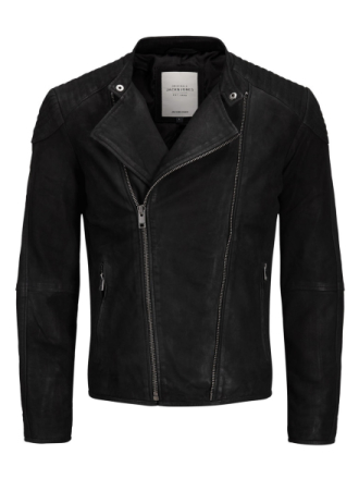 JACK & JONES Biker Leather Jacket Men Black