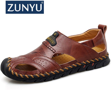 ZUNYU Men Leather Beach Sandals 2019 Summer Outdoor Shoes for Male Breathable Handmade Casual Footwear Slip On Walking Sandals