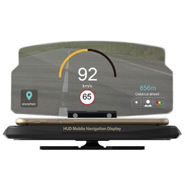 HUD Head Up Display Navigation Stativ til Smartphones - 6.5 - Sort