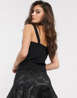 & Other Stories diamante buckle detail cami in black
