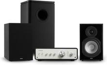Drive 802 stereo-set förstärkare+hyllhögtalare+Subwoofer+cover svart